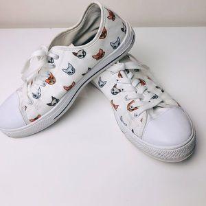 Designer Cats Print White Sneakers | EU 40